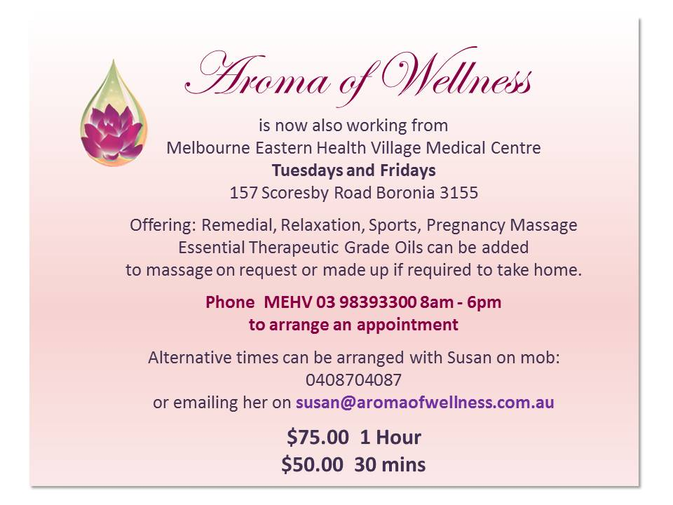 Melbourne Eastern Health - Aroma of Wellness